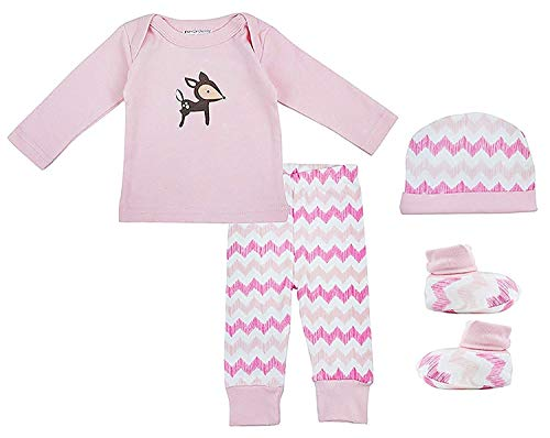 Rehkitz 4 Teile PINK Hat Oberteil Hose & Babystiefelchen Geschenkbox Set größe Neugeborene bis 6 Monate - Rose, 56-68, - Honey Bunny Kind Kostüm
