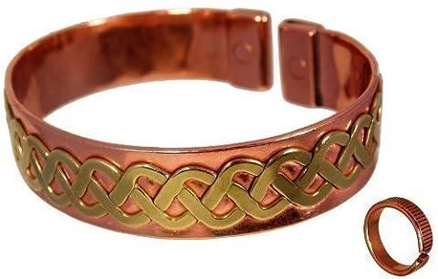 Unisex Magnetisches Kupfer Armband Messing Keltisches Spitzen Design mit Aufgestetzten Linien + Magnet Kupferring Kombi-Geschenk-Set - Kleine Ringgröße: 16 - 18mm