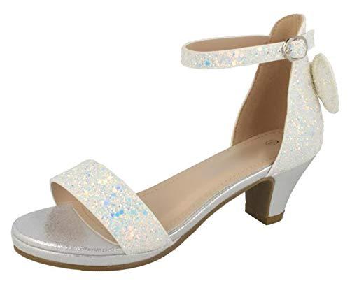 Flache Ballett Glitter Kind Schuhe - Lora Dora Mädchen-Sandalen mit Blockabsatz, Silber