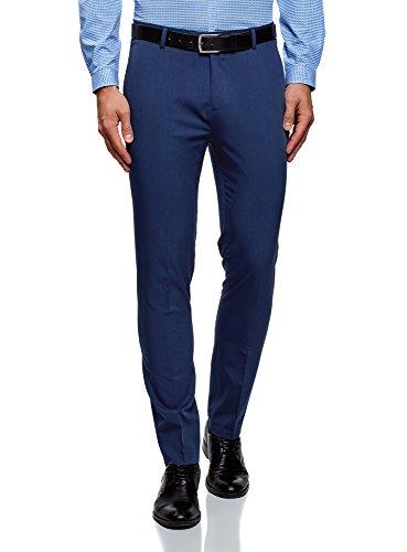 Oodji ultra uomo pantaloni slim fit leggeri, blu, it 52 / eu 48 (xl)