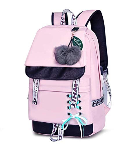 Damen Mode Schultasche Kawaii Druck Rucksack Mädchen Lässig Wasserdicht Backpack Schule Teenager Daypack (schwarz) (Color : Puder, Size : -)