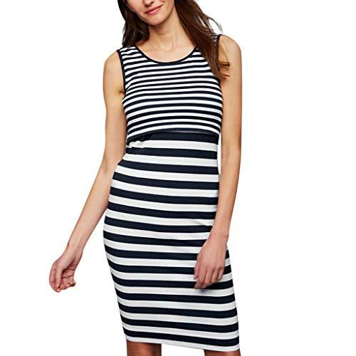 Likecrazy Damen Mutterschaft Kleid Schwanger Frau Umstandskleid Slim Fit Maxikleid Retro Classic Damenkleider Elastic Streifen badycorn Long Dress