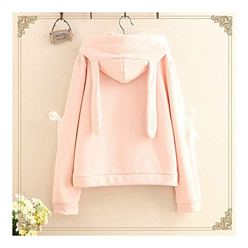 Hoodie Weiß-kleidung (SWEAAY Harajuku Kawaii Hoodies Frauen Kleidung Sweatshirts Frühling Rosa Weiß NiedlichAnime Mori MädchenKapuzenpullover, Rosa, One Size)