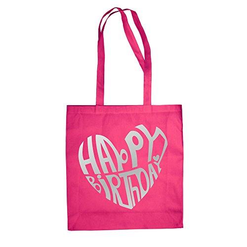 Happy Birthday Design - Baumwolltasche Jutebeutel Fuchsia-Silber