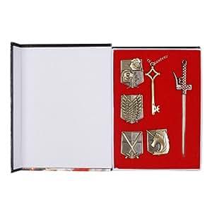 Attaque sur Titan Shingeki No Kyojin Badge + armes + Collier pendentif cl¨¦ Enqu¨ºte Corps Set