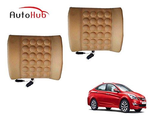 Auto Hub Car Back Rest For Hyundai Verna Fluidic - Beige (Set of 2)
