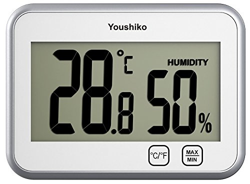 Youshiko YC9060 Digital Thermometer Hygrometer / Humidity Temperature Monitor Meter (2 in 1) with Touch Buttons