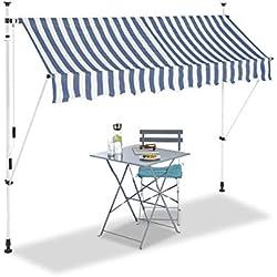 Relaxdays Auvent rétractable 250 cm Store Balcon Marquise Soleil terrasse Hauteur réglable sans perçage, Bleu-Blanc, 250 x 120 cm