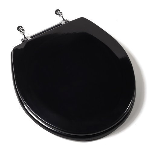 Comfort Seats C1B4R290CH Deluxe Molded Wood Toilet Seat with Chrome Hinges, Round, Black by Comfort Seats