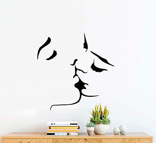 Tianpengyuanshuai Küssen Paar wandtattoo Schlafzimmer Bett Hintergrund Dekoration Liebe Vinyl wandaufkleber hauptdekorationen Wohnzimmer Kunst 63x63 cm