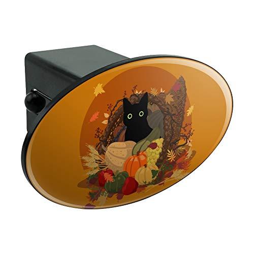 (Graph & More Thanksgiving, Schwarze Katze, versteckt in Cornucopia mit Kürbiss, oval, Anhängerkupplung, 5 cm)