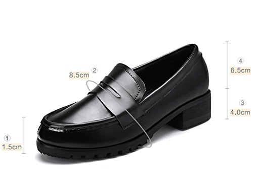 HWF Chaussures femme Printemps des chaussures simples en cuir de style britannique féminin plat Penny Casual chaussures paresseuses ( Couleur : Noir , taille : 37 ) Noir