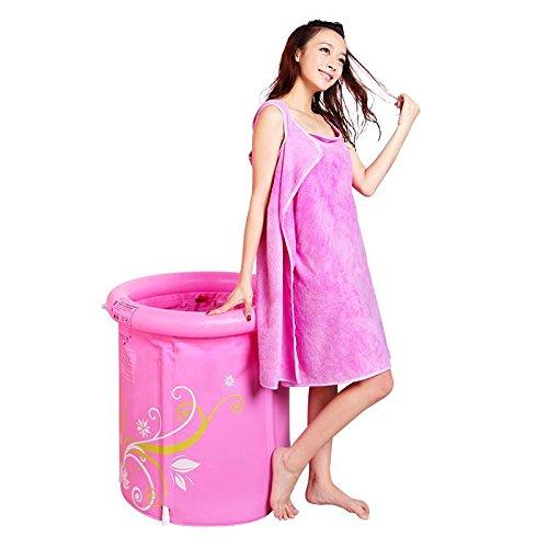 LIVY Rosa bedruckt Kunststoff faltbare Badewanne Baden Barrel Fass verdickte Erwachsenen aufblasbare Badewanne Badewanne