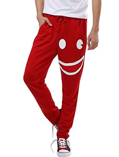 Allegra K Mode Hommes Sourire Modèle Poches Avant Côté Pantalon Sarouel Rouge W32 Rouge