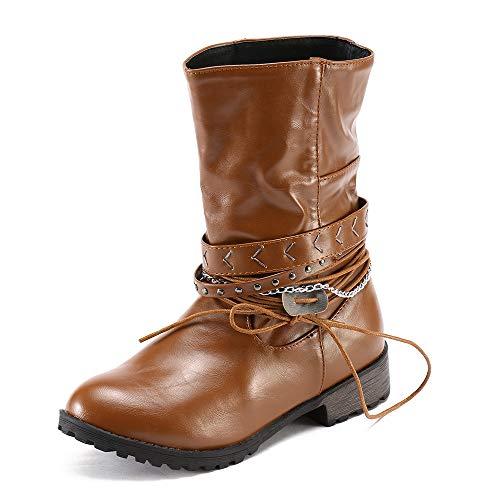 MOIKA Damen Boots Mode Frauen Schuhe Böhmen Damen Kampf Reiten Stiefeletten Mode Lässig Stiefel(255/42,Braun)
