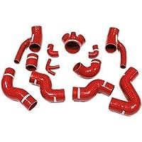 Autobahn88 Kit de manguera del refrigerador intermedio del silicón, Modelo ASHK51-RD (Rojo - sin sistema de abrazadera)
