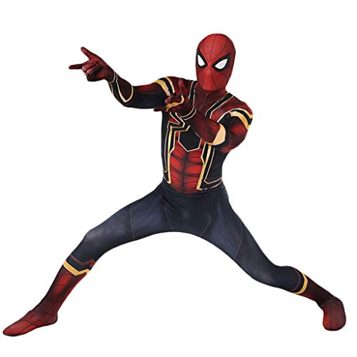 QWEASZER Avengers: Infinity War, Iron Spiderman Kostüm Anime Spider-Man Strumpfhosen Cosplay Kostüm Venom 3D Print Jumpsuit,A-M (Avengers Kostüm Männer)