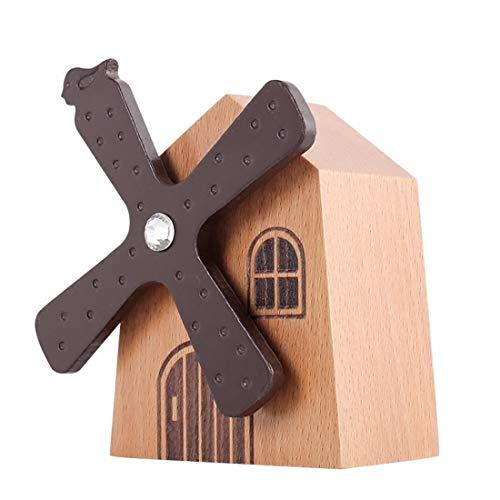 DASEXY Sky City Music Box Kinderzimmer Kreative Holz Music Box Zu Senden Geschenke Rotierende Windmühle Wohnzimmer Veranda Ornamente Dekoration Deko Wohnzimmer