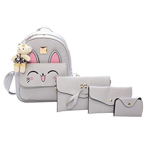 Malloom® Frauen Vier Set Tierhandtasche Schultertasche Vier Stücke Einkaufstasche Crossbody Wallt Kaninchen Tasche vier Sätze (grau) (Vier Satz)