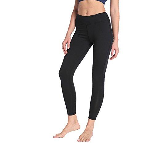 AiJump Femmes Leggings de Sport Pantalons pour Athlétique dentraînement Yoga Fitness Running Jogging Gym Pilates Noir