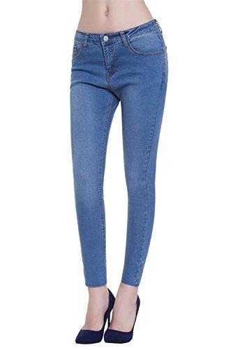 Jeans Skinny Mujer Vaqueros Elásticos Pantalón Azul large