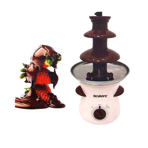 Silvan Fuente de Chocolate 3 Pisos Niveles Fondue 80W CHOCOLATERA Frutas Dulce Fuente electrica de Chocolate Antiadherente Acero Inoxidable
