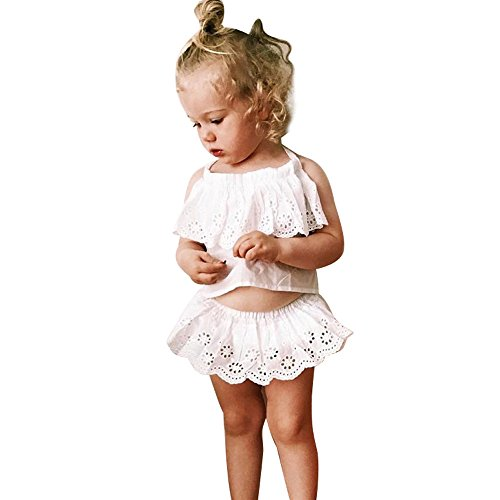 URSING Infant Baby Mädchen Einfarbig Spitzen Bandage Sommer Tank Oberteile Tops Neckholder Schulterfrei Bauchfrei Crop Top + Shorts Outfits Clothes Sets Mode Kinderbekleidung (70, Weiß)