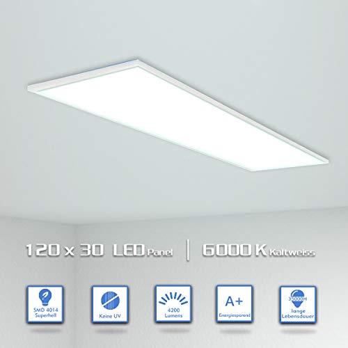 OUBO LED Panel 120x30cm Kaltweiß / 48W / 4200lm / 6000K / Weißrahmen Lampe dünn Ultraslim Deckenleuchte Wandleuchte Einbauleuchten