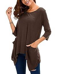 Urban GoCo Mujeres Casual Túnica Camisa con Bolsillos Manga 3/4 Tamaño Grande Camiseta Tops