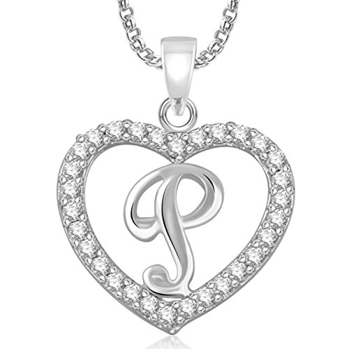 Meenaz Silver Plated 'P' Letter Pendants Alphabet Pendant With Chain For Men,Women,Kids in Ameriacan Diamond Cz Jewellery
