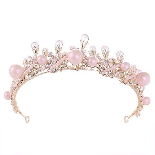 Braut Krone Perle Krone Dekoration Hochzeit Braut Tiara Kronen Prinzessin Prom Perle Strass Tiara Stirnband Königin Krone (Color : Gold, Size : 34 * 5.5cm) (Halloween-kostüm Eleganz Königliche)