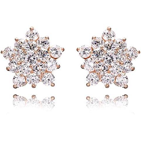 bloomfall alla moda sterling placcato stile Punk elemento Elegante cristallo diamante lega di zinco Rinestone Opal girasole orecchini Cubic Forma unica anche regalo speciale