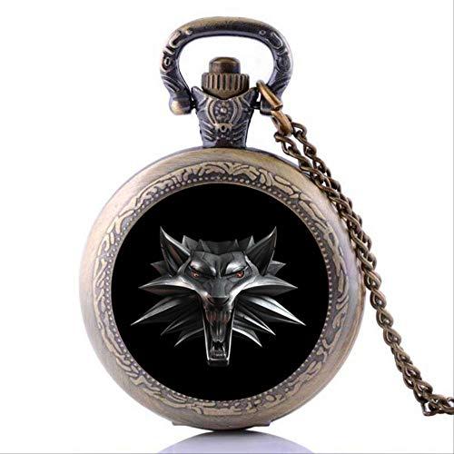 FOR TMT Collares Y Colgantes De Halloween Vintage Wizard Witcher 3 Medallion Reloj De Bolsillo Collar Wolf Head Jewelry