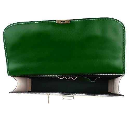 38x27x7 in Verde Porta Vera Lavoro Mano Cm da Italy Donna Borse Borsa a Chicca Portadocumenti Pelle in con Tracolla Made Uomo Portatile 1xZwHyzpq