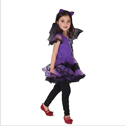 Kostüm Magische Hexe Mädchen - XIAHE Halloween Cosplay Kostüm Mädchen Lila Fledermaus Anzug Halloween Magische Hexe Kostüm Rollenspiel