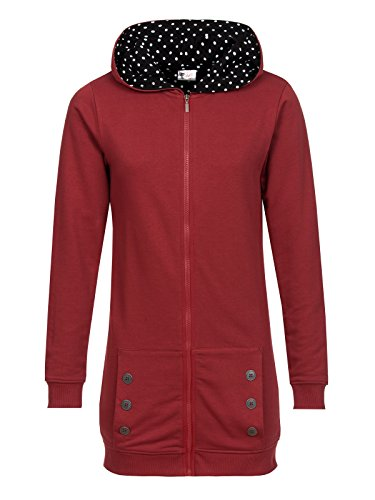Pussy Deluxe Red Longsweater Coat With White Dotties Lining Felpa jogging donna rosso XXL
