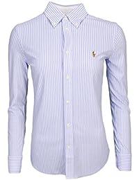 Ralph Lauren Chemise Polo rayée en Coton piqué Bleu et Blanche pour Femme 4022103eeab