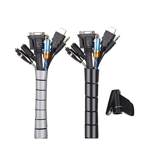 Raccogli-Cavi-2-Pezzi-MOSOTECH-2×15-M-Guaina-per-Cavi-Flessibile-Nascondi-Cavi-Copricavi-per-TVComputerAudio-Manicotti-Protezione-Nero-e-Grigio