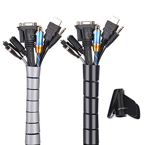 Universal Kabelschlauch 2x1.5 M Flexible Kabelkanal Cord Organizer Kabelhülle Schutz-System fürTV, Computer, Heimkino, Schwarz und Grau(150x ∅28mm,150x∅22mm)