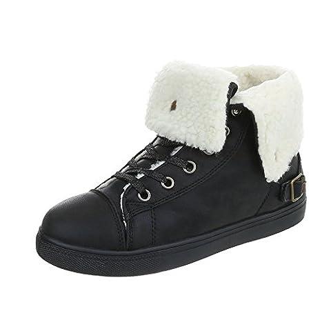 Sneakers High Damen-Schuhe High-Top Sneakers Schnürsenkel Ital-Design Freizeitschuhe Schwarz, Gr 39,