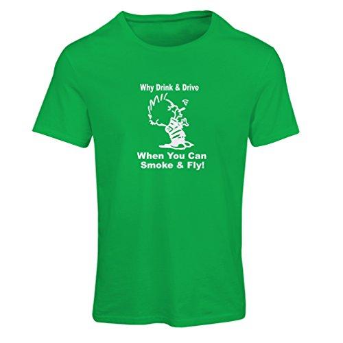 N4040F Frauen T-Shirt Rauch und fliegen (Medium Grün Weiß) (Rauch-teppich)