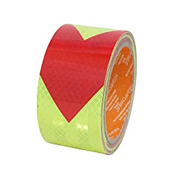 2 Inch X 16 Feet Dot Reflective Tape Film High Intensity Visibility Waterproof Safety Caution Warning Reflector Arrow Sticker Self Adhesive Roll for Trailers Bus Truck RV Camper Auto Boat(Red&Green)