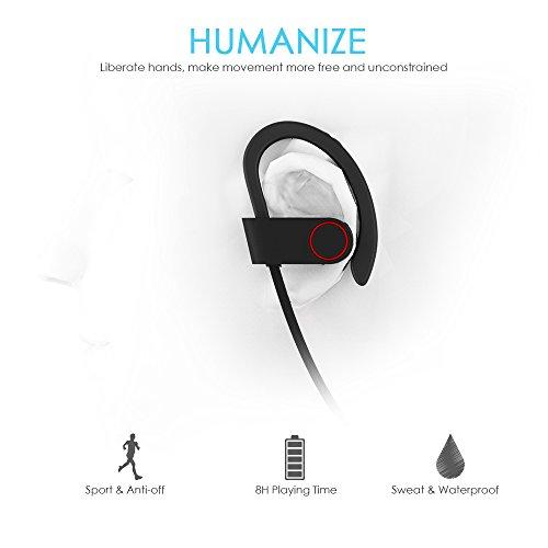 Bluetooth Kopfhörer, ALIENSX Kabellose Bluetooth 4.1 Sport Stereo In Ear Ohrhörer, Schweiß Resistant, CVC 6.0 Rauschunterdrückung mit Mikrofon, Sichern Fit, für Fitness/Workout/Jogging/Training usw (Schwarz) - 6