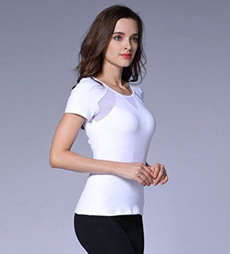 Dooxi Donna Casual Manica Corta Jogging Fitness T-shirt Fast Dry Traspirante Palestra Yoga Sport Tee Tops Bianca