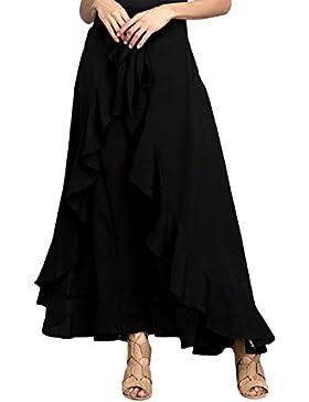 Lrud Women's High Waisted Ruffle Palazzo Pants Falda Overlay Falda Culottes