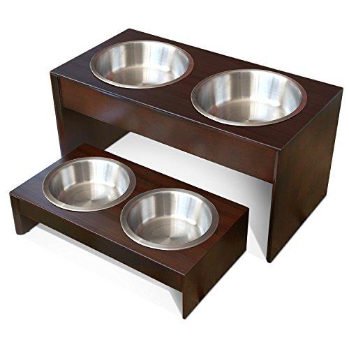 Hund Erhöht Schalen (PetFusion erhöhter Futterspender für Haustiere in Güteklasse A Neuseeland Kiefer. (I) wasserabweisend. (II) 26cm Höhe. (III) 2USA Lebensmittelqualität SS Schalen)