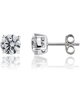 Eye Candy Damen-Ohrstecker Ohrringe 925 Sterling Silber rhodiniert mit weißen, runden Zirkonia Steinen 7mm ECJ-ER0006