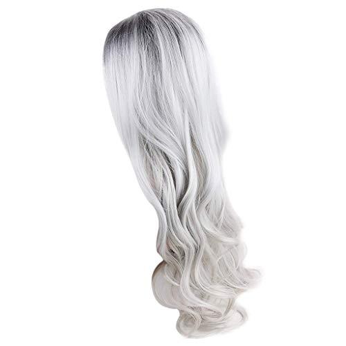 Zolimx Sexy Gradient Schwarz Party Perücken Langes lockiges Haar Mischfarben Synthetische Perücke