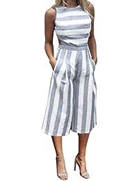 Zarupeng Mode Frauen Streifen Overall Elegant Ärmellos Bodysuit Clubwear  Rompers Top Weite Bein Cropped Hose 253e0aaec6