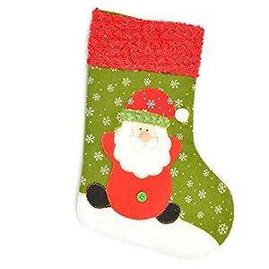Shatchi STOCKING-SANTA-GREEN-MEDIUM-6090 - Calcetín de Papá Noel (tamaño mediano), multicolor